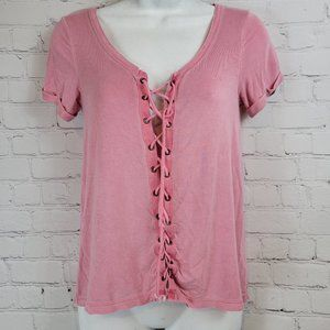 American Eagle Pink Lace Up Cuffed Short Sleeve Soft & Sexy T Size XS